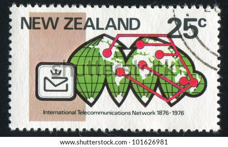 NEW ZEALAND - CIRCA 1976: stamp printed by New Zealand, shows Telecommunications network on Goode�¢??s equal area projection, century of link into international telecommunications network, circa 1976 - stock photo