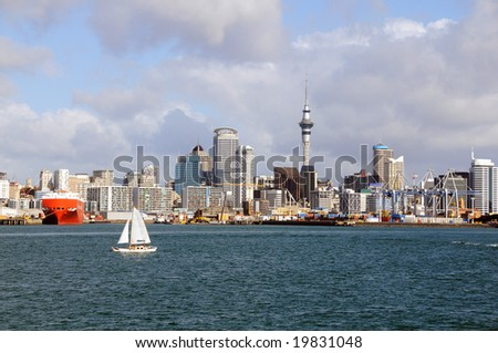 New Zealand - City of Sail, Auckland Skyline - stock photo