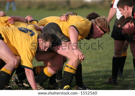 New Zealand club Rugby Action.  Kirwee vs Darfield, the Kirwee front row packs down for a scrum. - stock photo