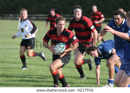 New Zealand club Rugby Action.  Lincoln vs Prebbleton - stock photo