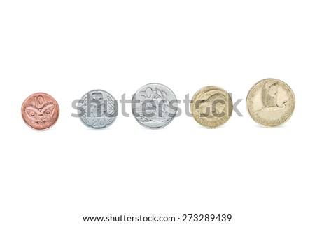 New Zealand coins isolated on white - stock photo