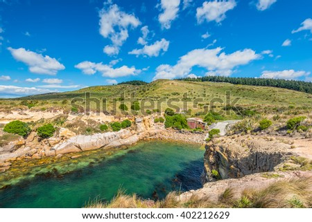 New Zealand colorful coastline landscape with little bay for boats and fur seals at Otago Region Southern island New Zealand - circular polarizing filter - stock photo