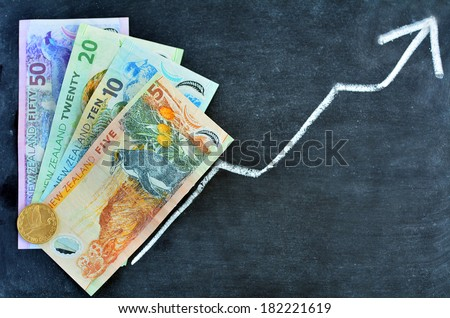 New Zealand Dollar Banknotes on upward trend arrow. Concept photo of money, banking ,currency and foreign exchange rates.  (Isolated on white background) - stock photo