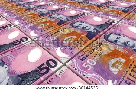 New Zealand dollar bills stacks background. - stock photo