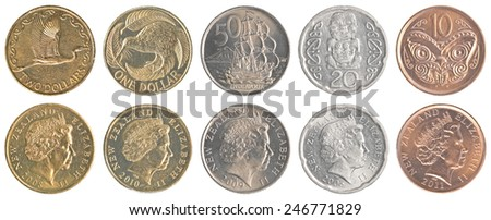 New Zealand dollar coins collection set isolated on white background - stock photo