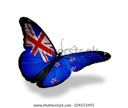 New Zealand flag butterfly flying, isolated on white background - stock photo