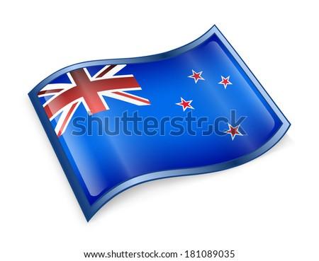 New Zealand Flag Icon, isolated on white background. - stock photo