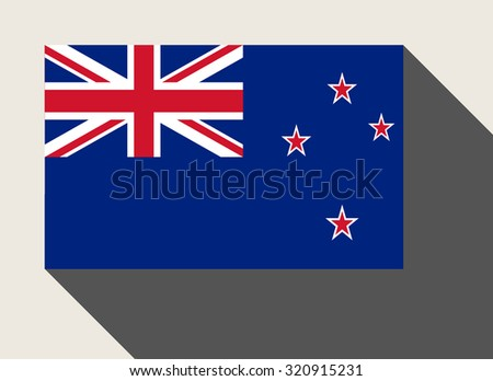 New Zealand flag in flat web design style. - stock photo