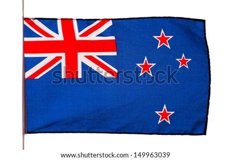 New Zealand flag in the wind on white background - stock photo