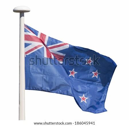 New Zealand flag isolated on white background - stock photo