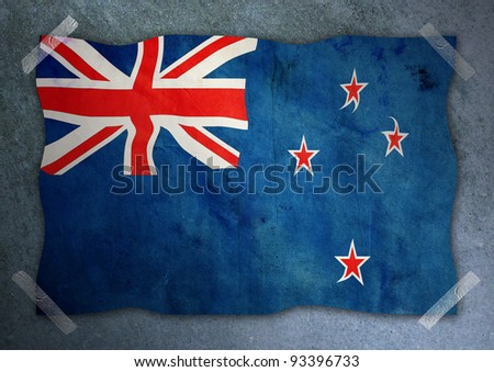 New Zealand flag  on cement wall - stock photo