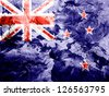 New Zealand flag painted dirty and grungy paper - stock photo