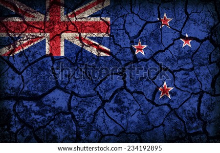 New Zealand flag pattern on the crack soil texture ,retro vintage style - stock photo