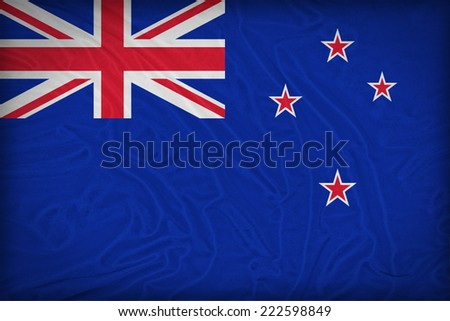 New Zealand flag pattern on the fabric texture ,retro vintage style - stock photo