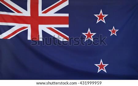 New Zealand Flag real fabric seamless close up - stock photo