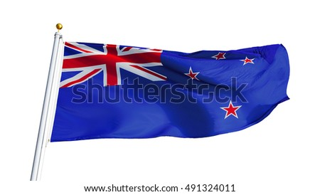 New Zealand flag waving on white background, close up, isolated with clipping path mask alpha channel transparency