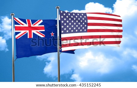 New zealand flag with American flag, 3D rendering