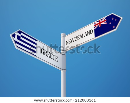 New Zealand Greece High Resolution Sign Flags Concept