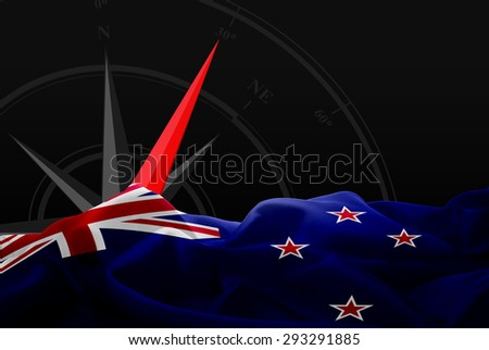 New Zealand High Resolution flag and Navigation compass in background - stock photo