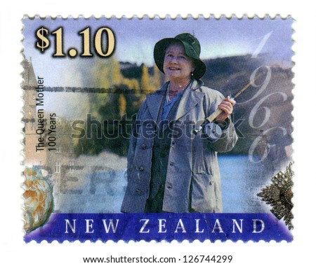 NEW ZEALAND JULY 27: Special edition commemorative stamp issued to mark the 100th birthday of HM. Queen Elizabeth the Queen Mother, on 27th July 2000 in New Zealand. She is depicted here in 1966. - stock photo