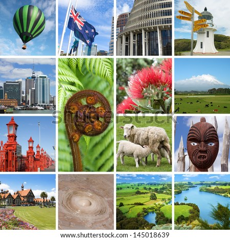 New Zealand kiwiana collage - stock photo