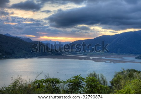 New Zealand landscape at sunset
