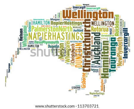 New Zealand larger cities info-text graphics arrangement concept composed in kiwi bird shape on white background - stock photo