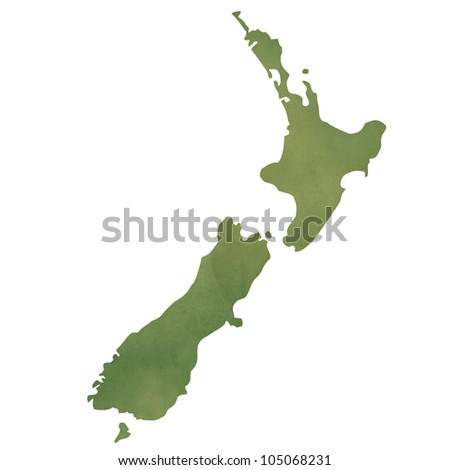 New Zealand map in old green paper isolated on white background.