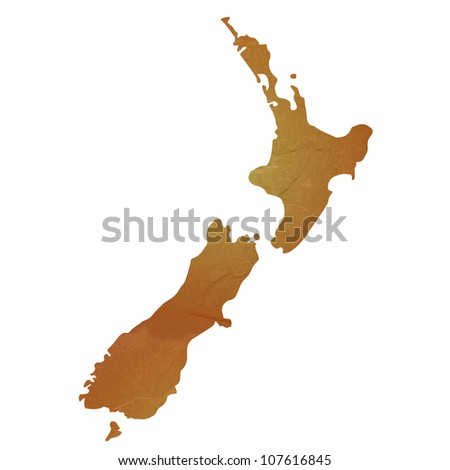 New Zealand map with brown rock or stone texture, isolated on white background with clipping path.