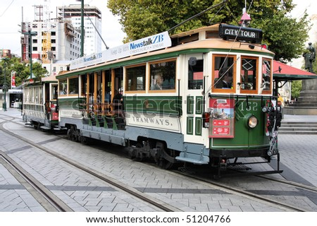 NEW ZEALAND - MARCH 16: Heritage tram on March 16, 2009 in Christchurch, New Zealand. In early 2010 City Council suggested an extension of tramway system to reduce the car-dominance in downtown. - stock photo