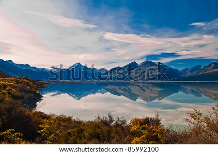 New Zealand. Mountain landscape including Aoraki Mt. Cook and Mt. Tasman of Southern Alps. Snowcapped mountains. - stock photo
