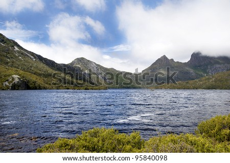 New Zealand mountain landscape with water