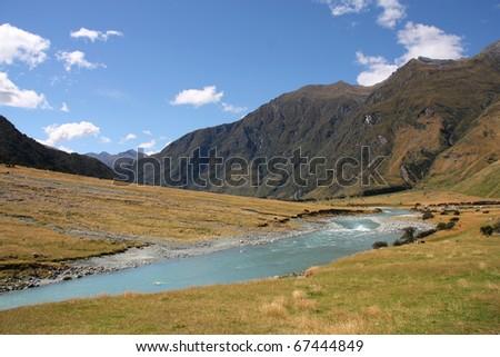 New Zealand - mountains in Mount Aspiring National Park - stock photo