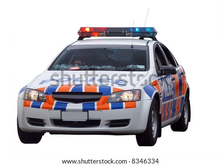 New Zealand Police Car Taken at Christmas Time - stock photo