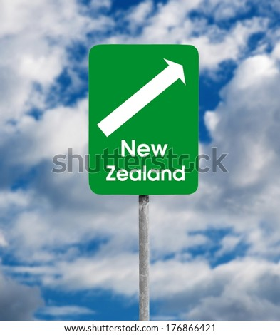 New Zealand road sign over sky background