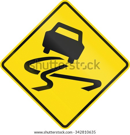 New Zealand road sign - Slippery road surface.