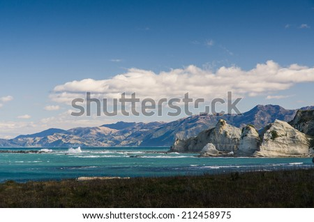 New Zealand rocky sea shore, Kaikoura - stock photo
