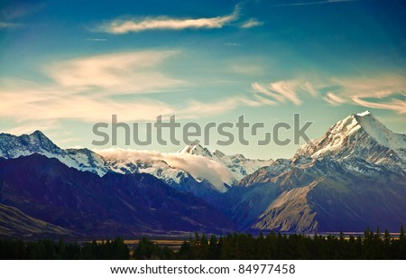 New Zealand scenic mountain landscape shot at Mount Cook National Park. - stock photo