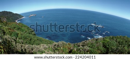New Zealand, sea viewed from the coast, panoramic view - stock photo