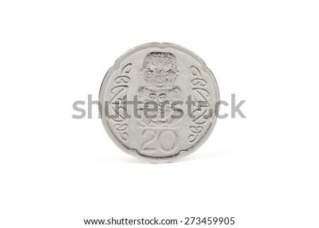 New Zealand twenty cent coin - stock photo