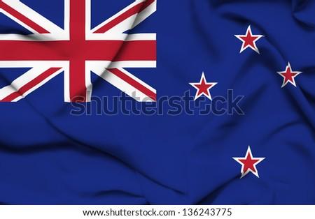 New Zealand waving flag - stock photo