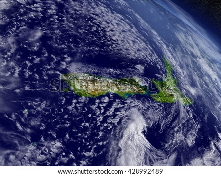 New Zealand with surrounding region as seen from Earth's orbit in space. 3D illustration with highly detailed planet surface and clouds in the atmosphere. Elements of this image furnished by NASA.