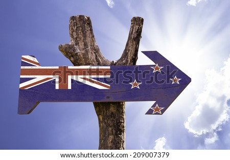 New Zealand wooden sign on a beautiful day - stock photo