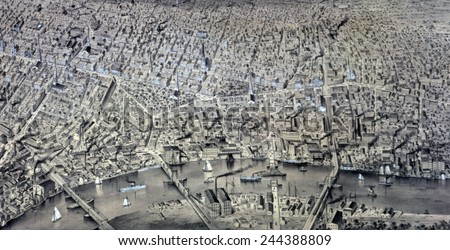 Newark, New Jersey. Aerial view, 1874 - stock photo
