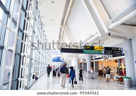 NEWARK, NJ -  OCT 5: Newark Airport interior on October 5, 2011 in Newark, New Jersey. Newark airport near New York City is 10th busiest in US and the 2nd-largest hub for Continental Airlines. - stock photo