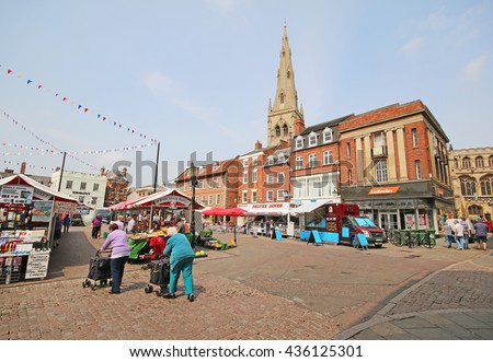 NEWARK, UK - JUNE 8, 2016: Newark Royal Market. Newark-on-Trent is a market town in Nottinghamshire in the East Midlands of England and grew around Newark Castle and a large market place