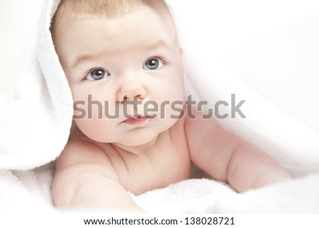 newborn baby after a bath