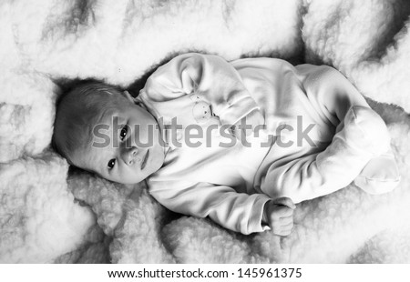Newborn baby, black and white