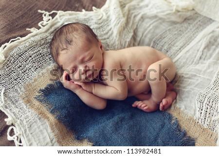 Newborn baby Boy - stock photo