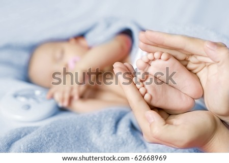 Newborn baby. Boy - stock photo